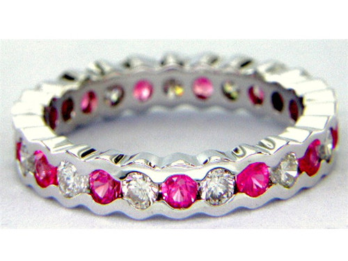 Custom design bezel set ruby and diamond eternity band