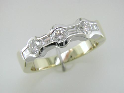 Custom design bezel set round/straight baguette diamond anniversary band