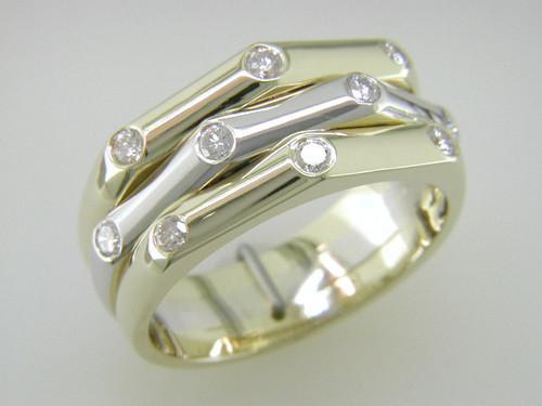 Custom design flush set diamond bamboo band