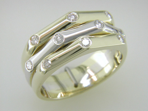 Custom design flush set diamond bamboo band