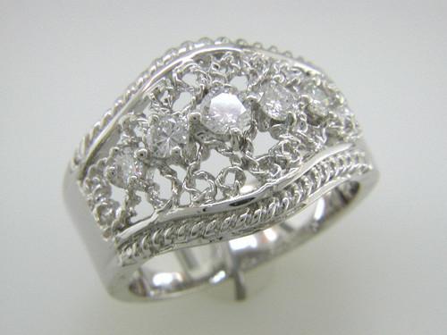 Custom design rope edge Vintage style diamond ring