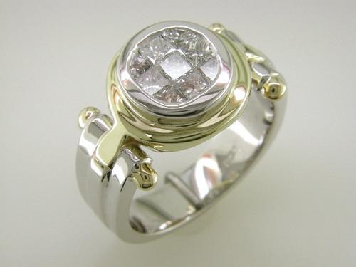 Custom design TT bezel set cluster PC diamond ring