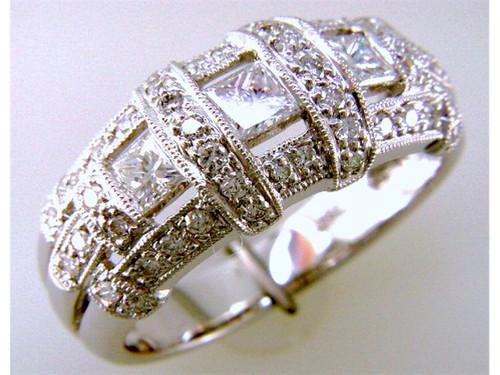Custom design princess cut/round diamond dome ring