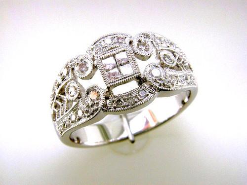 Custom design square cluster round accent diamond ring