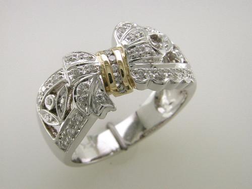 Custom design two tone diamond bow ring