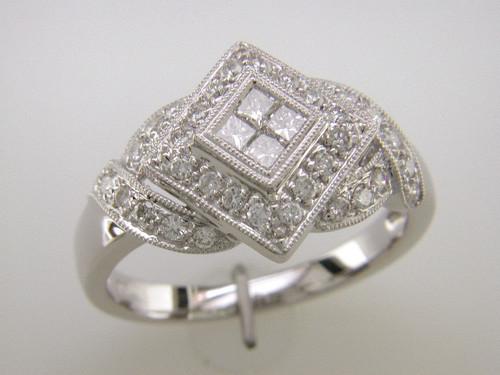 Custom design square cluster diamond ring