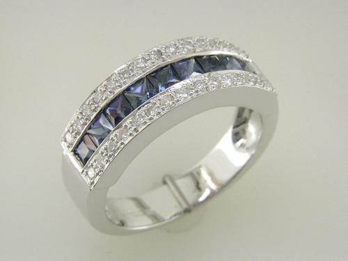 Custom design channel set PC sapphire bright set diamond band