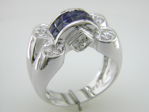 Custom design PC sapphire diamond ring