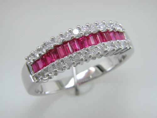 Custom design channel set ruby baguettes/prong set diamond ring