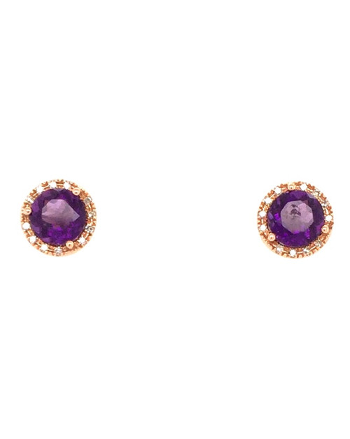 14 karat rose gold amethyst and diamond earrings.