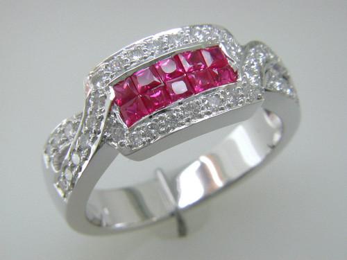 Custom design channel set PC rubies/RB diamond ring
