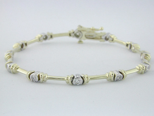 Custom design two tone bar link and bezel set diamond bracelet