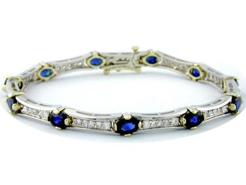 Custom design oval sapphire/diamond curved link bracelet