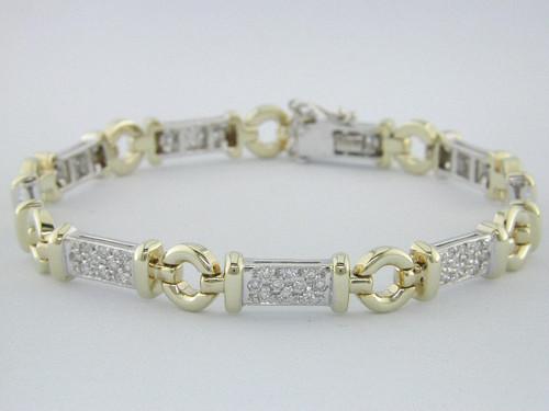 Custom design two tone circle link/pave' diamond bar bracelet
