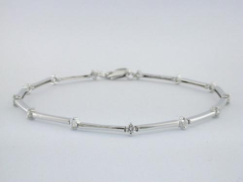 Custom design bar link prong set diamond bracelet