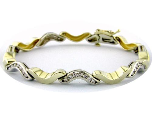 Custom design two tone channel set diamond curved link bracelet