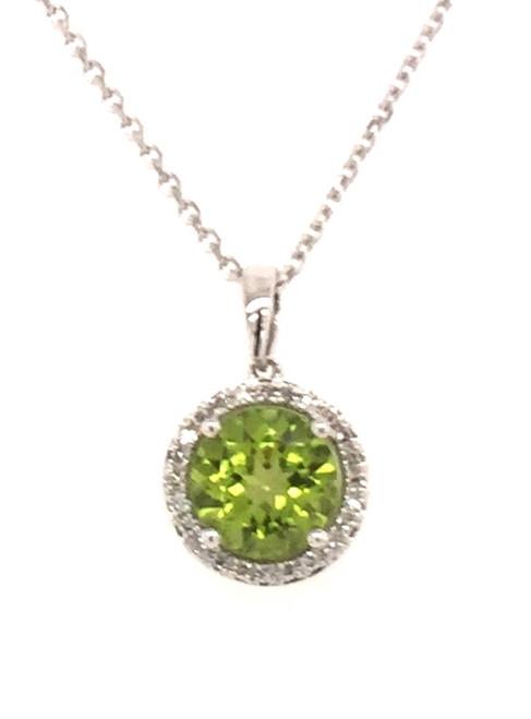 Round peridot and diamond pendant