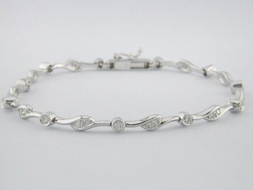 Custom design bezel set/prong set curved link diamond bracelet