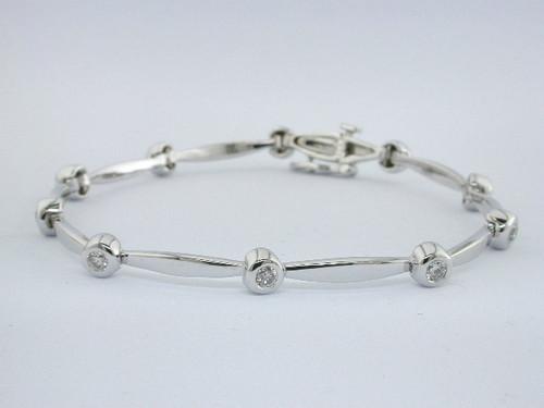 Custom design bezel set diamond/MQ link bracelet
