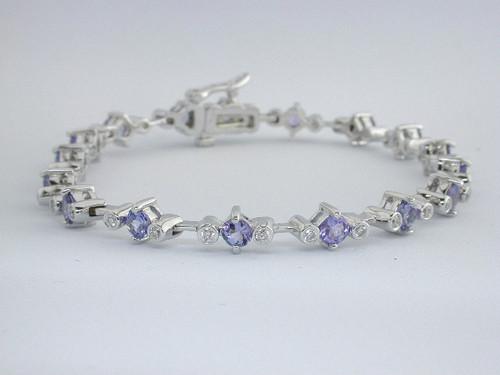 Custom design bezel set diamond round Tanzanite bracelet