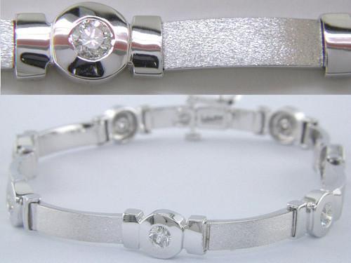Custom design bezel set diamond satin finish link bracelet