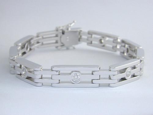 Custom design bezel set diamond bike chain link bracelet