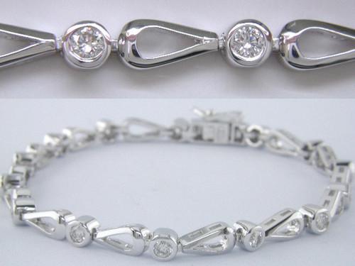 Custom design bezel set diamond open pear link bracelet