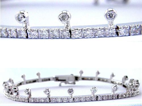 Custom design bezel and prong set diamond crown bracelet
