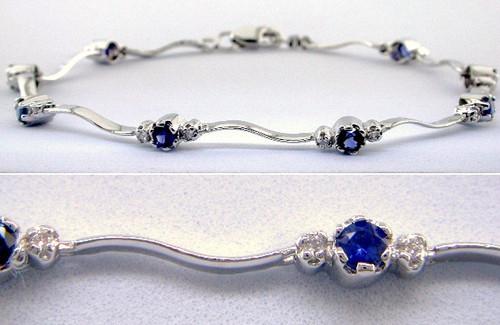 Custom design sapphire and diamond curved bar link bracelet