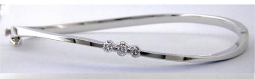 Custom design (3)diamond curved bangle bracelet