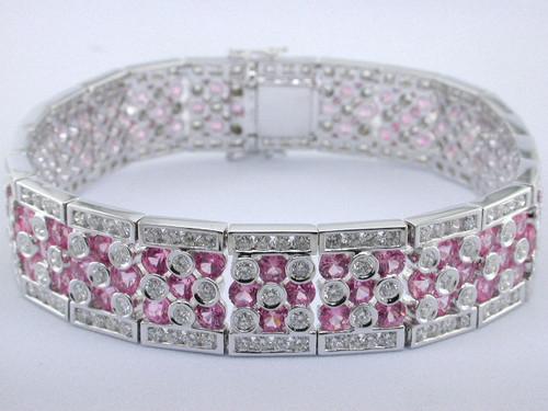 Custom design bezel and channel set pink sapphire/diamond bracelet