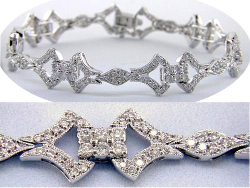 Custom design Vintage style diamond link bracelet