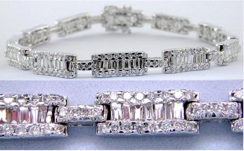 Custom design straight baguette and pave' diamond link bracelet
