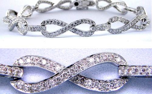 Custom design infinity pave' set diamond link bracelet