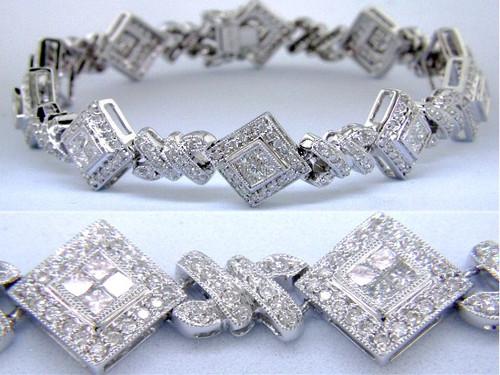 Custom design square diamond cluster/pave' link bracelet