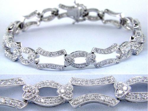 Custom design diamond oval/heart/rectangle link bracelet