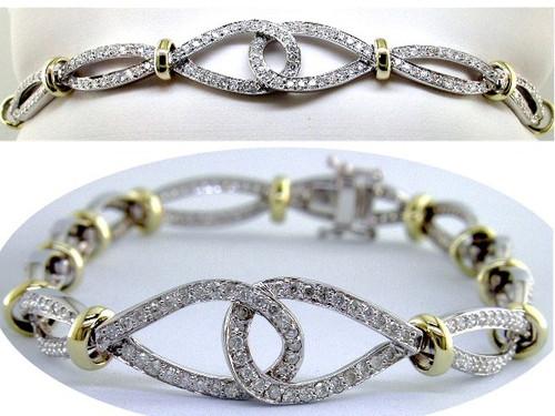 Custom design TT interlocking pear shaped center links diamond bracelet