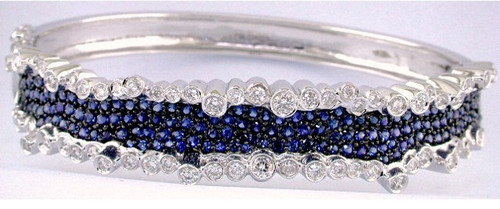 Custom design asymmetrical sapphire/bezel set diamond bangle bracelet