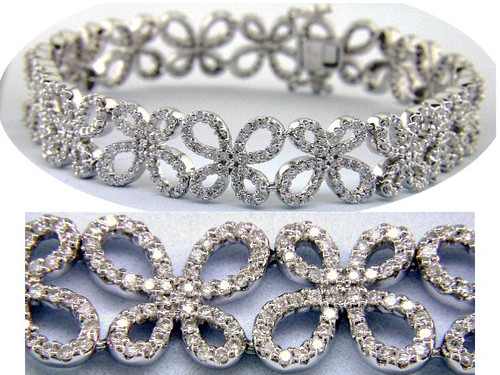 Custom design diamond butterfly link bracelet