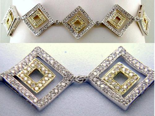 Custom design two tone diamond square in square link bracelet