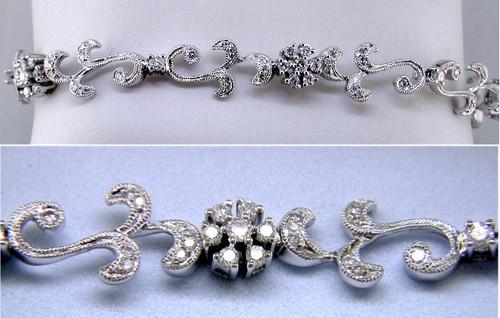 Custom design diamond cluster Vintage style bracelet