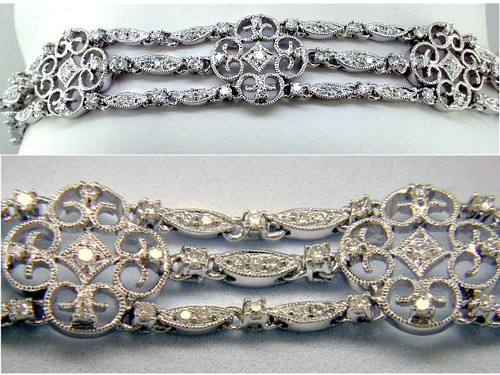 Custom design triple row Vintage style diamond bracelet