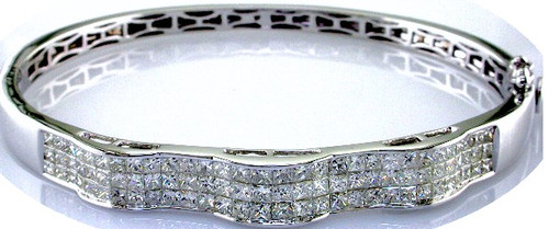 Custom design triple row channel set PC diamond bangle bracelet