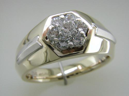 Custom design two tone Gents diamond cluster ring
