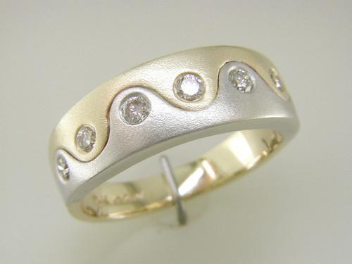 Custom design Gents two tone flush set diamond satin finish band