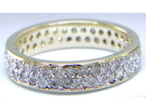 Custom design double row pave' diamond eternity band
