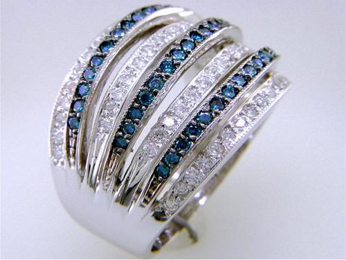Custom design 7 row blue/white diamond band