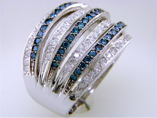 Custom design 7 row blue/white diamond band