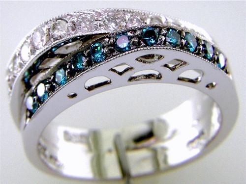 Custom design asymmetrical 2 row blue/white diamond band