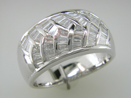 Custom design baguette diamond in curved channels dome band